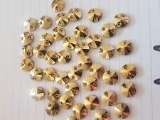 12mm gold rivoli Sew On Stitch  Bead JEWEL GEM Glass CRYSTAL RHINESTONE