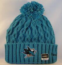 NHL San Jose Sharks Womens Reebok Cuffed Knit Pom Hat