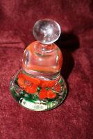JOE ST CLAIR GLASS BELL PAPERWEIGHT Christmas Red FLOWERS & GREEN Bubbles