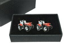 Red Massey Ferguson Tractor Cufflinks-Ideal Gift BOXED! Wedding/Farming Enamel