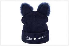 Women Cat Ears Hat Knitted Acrylic Winter Warm Beanie Caps Cute Girl Gift