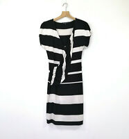 FRENCH CONNECTION Size 10 Stretch Dress Bodycon Striped Black Off-White Soft EUC