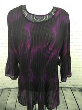 Maggie Barnes Purple Bling Sheer Stretch Shirt Career Top Women's Sz 3X 26/28