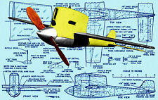"""Build a VINTAGE Speed Plane 1955 12"""" .15  Control Line  Bitsy F/S Printed Plans"""
