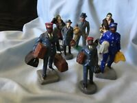 "7 Vintage Railway Passengers and Porters 1930s 3"" high RARE"