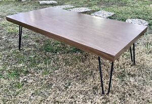 VINTAGE MID-CENTURY MODERN retro iRon HAIRPIN LEGs COFFEE TABLE Formica TOP