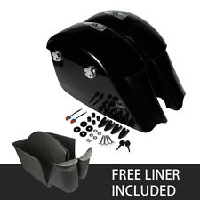 FREE LINER! Gloss Black Saddlebag Electronic Latch Concert Audio Lid For Indian
