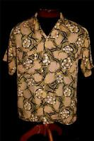VERY RARE COLLECTIBLE VINTAGE 1950'S SILKY RAYON  PRINTED SHIRT SIZE SMALL