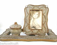 NEW 3PC SET GOLD BRASS GLITTER CRYSTAL RHINESTONE MIRROR+PICTURE FRAME+CONTAINER