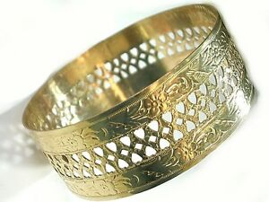 Vintage Hawaiian Bangle Authentic Gold Filled 1/20-14K Sturdy Plumeria Brangle