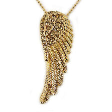 Twinkling Golden Big Angel Wing 5cm Long Use Austria Crystal Necklace