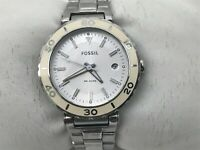 Fossil Women Watch Silver White Tone Date Calendar Wrist Watch WR 5ATM