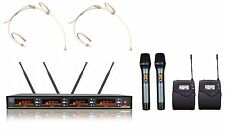 4 Channel UHF Wireless Cordless 2 Handheld 2 Headset Microphone Mic System
