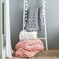 Chunky Knitted Thick Blanket Hand Yarn Bulky Knit Throw Sofa Blanket