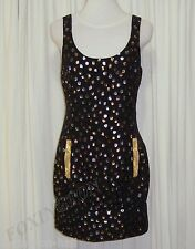 BEAUTIFUL SASS&BIDE LUREX POLKA DOT BLACK SILK DRESS AUS 10 Made in Australia