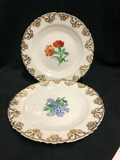 PAIR OF KPM GERMANY FINE PORCELAIN CABINET PLATES - FLORAL- CIRCULAR SEAL