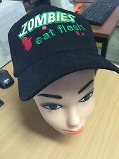 'Zombies Eat Flesh' Embroidered Novelty Zombie Black Baseball Cap (Free UK P&P)