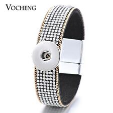 10PCS/Lot Vocheng 18mm Soft Fabric White Crystal Magnet Charm Bracelet NN-420*10