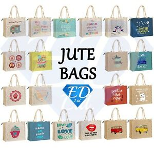Jute Shopping Bag Hessian Large & Small Eco Reusable Gift Tote Lunch Handbag