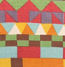 Raoul Textiles Asafo Stripe Terra Purple Red Orange Natural Linen Remnant New