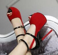 Womens Open Toe Ankle Strap Buckle Sandals Stilettos Platform High Heels Shoes
