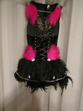 BLACK DRESS W/COLORFUL FEATHERS/BEAD/SEQUINS; FEATHERED WINGS, 8 PCS