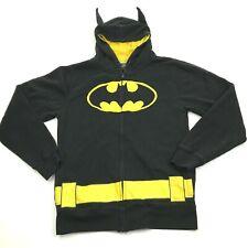 DC Comics Batman Hoodie Full Zip Size M Bat Ears Black Sweatshirt Embroidered