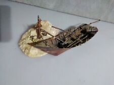 Medium Vintage S.L.C. 71Brutalist Copper Sculpture Boat Docked to Rock Folk Art