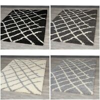 A2Z Rug Cosy Soft Shaggy Area Rugs Fluffy Living Room Bedroom Geometric Carpets