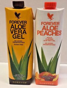 1 Forever Living Aloe Vera Gel & 1 Aloe Bits N' Peaches 33.8oz  FREE SHIPPING!