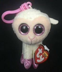 "Ty Beanie Boos Twinkle White Lamb 3.5"" Clip Plush Sparkle Eyes May 11th MINT Tag"