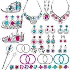 46 Piece Princess Jewelry Dress Up Play Set for Girls Ages 3 and Up