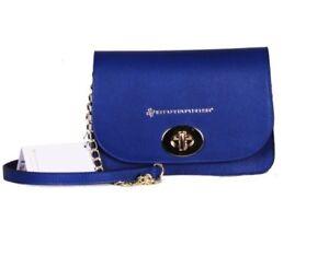 Pochette donna - blu elettrico in vera pelle Simona  piccola e comoda tracolla