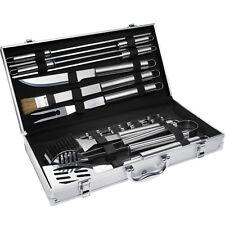Kit 18 pièces Accessoires et couverts Gril Barbecue BBQ en coffret inox spatule