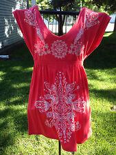 L A Class Women's Coral White Print Dress Size L Soft Poly Rayon Spandex NWT