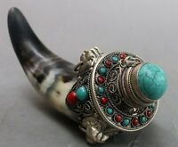 Chinese traditional handmade ox horn inlaid turquoise horns snuff bottle