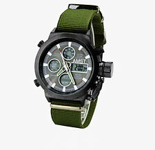 Men AMST Army Military Canvas Band Waterproof Sports LED Digital Analog Watch