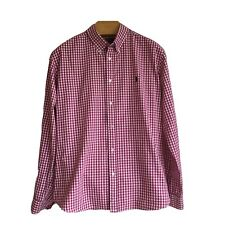 Ralph Lauren Polo Red Check Long Sleeve Shirt L Slim Fit Cotton