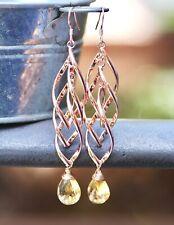 Long Natural Citrine Earrings 14k Rose Gold Filled , November Birthstone
