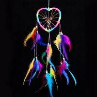 Dream Catcher Heart Colorful Handmade Wall Hanging Decor Ornament Feathers Gift