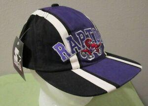 VTG NWT Starter NBA Toronto Raptors Striped Mascot Spellout Hat Cap Adjustable