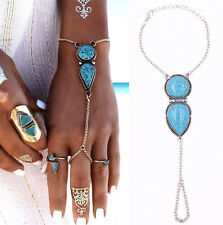 New Blue Turquoise Slave Bracelet Bangle Finger Ring Harness Hand Chain Jewelry