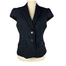 NEW YORK & COMPANY Size 8 Black Short Cap Sleeve Jacket Vest Lined NWT $79.95