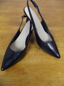 NEW Alfani Babbsy2 Womens 12 M Black Leather Pointed Toe SlingBack Heels Shoes