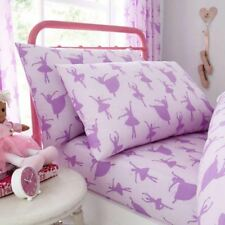 BALLERINA SINGLE FITTED SHEET & PILLOWCASE SET LILAC BEDDING DANCER KIDS