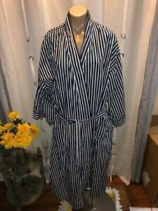 Vintage Nautica striped cotton robe Navy Blue/White Size One Size