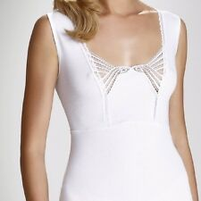 "White Black T-shirt Top Camisole Cami Vest  ""Brigitte"" Square Neck Sleeveless"