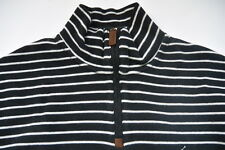 Polo Ralph Lauren SWEATER L STRIPED BLACK WHITE PONY COTTON PULLOVER 1/2 Zip New