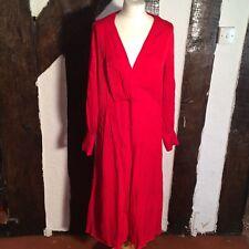 H&M Red Viscose Deep V Snake Print Faux Wrap Dress Long Sleeved Size 10 UK