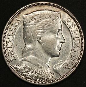 1931 Latvia 5 Lati Silver Coin - KM# 9 - HIGH QUALITY